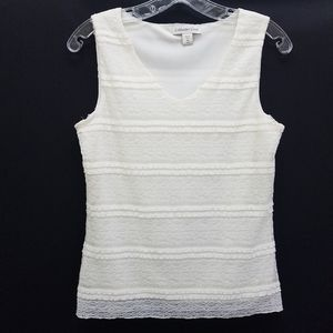 Coldwater Creek V-Neck Ruffle Lace Tank Top